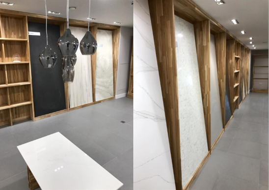 Show room marble tops- Finished fit out project Warwick Leamington Spa
